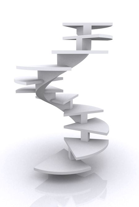 corporate ladder illustration made in 3d over a white background
