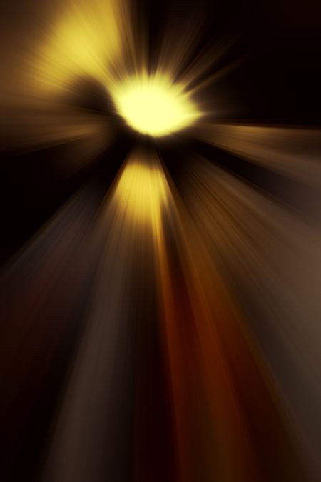 Radial blur of a mysterious source of light beams in outer space