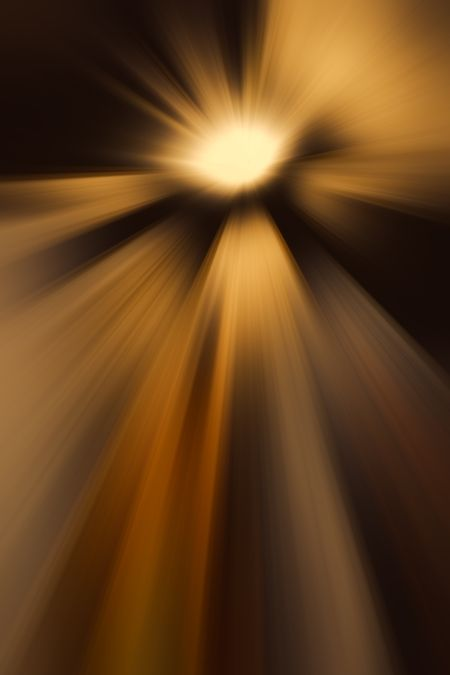 Imaginary abstract of an intensely glowing otherworldly object emitting radially blurred beams of light or other widespread radiation as it hurtles through interstellar space