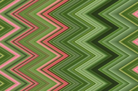 Geometric abstract pattern of contiguous zigzags with various shades of green and a few pink stripes for motifs of angularity, alternation, repetition