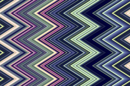 Multicolored geometric pattern of sharp zigzags for themes of angularity, repetition, or conformity in background and decoration