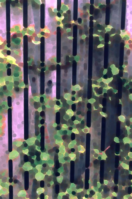 Impressionistic abstract of climbing hydrangea on wooden fence in spring garden, with light green pastels overlapping dark stripes, for illustration and background