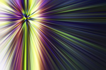 Abstract starburst with radial blur of multicolored rays for themes of natural or otherworldly phenomena in decoration and background