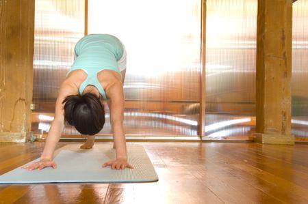 Downward dog pose in yoga