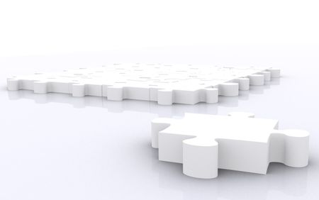 puzzle piece in front of a big puzzle - made in 3d