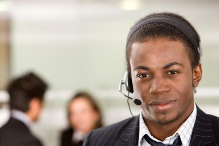 Customer services representative man in an office