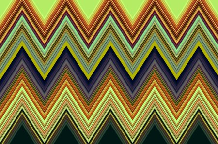 Multicolored geometric pattern of zigzagging stripes for motifs of repetition, variation, or synergy in decoration and background