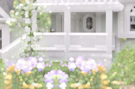 Bright varicolored abstract of porch and flowering garden for seasonal, residential, or architectural themes
