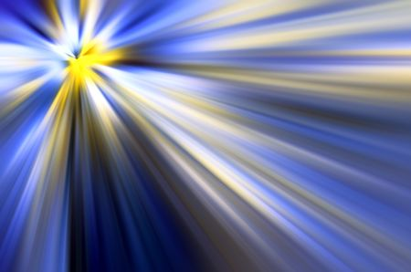 Multicolored abstract starburst with radially blurred beams of light emitted by a source at upper left, for backgrounds with motifs of origin, revelation, illumination