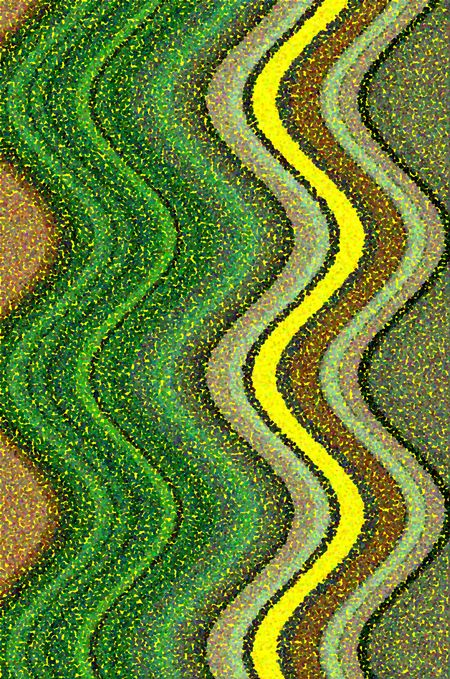 Pointillist parti-colored abstract of vertical waves with yellow background and one salient yellow wave