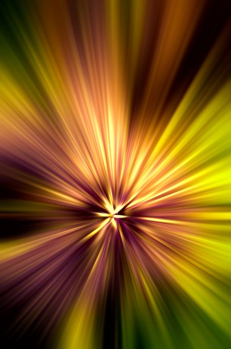 Fiery abstract of a spring flower with radial blur, like a starburst, for themes of origin or radiance in decoration and background