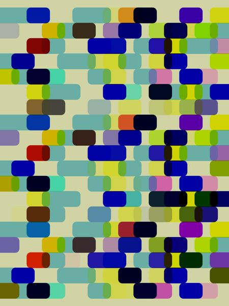 Multicolored geometric abstract grid of rounded rectangles for themes of variety,  multiplicity, or synergy in decoration or background