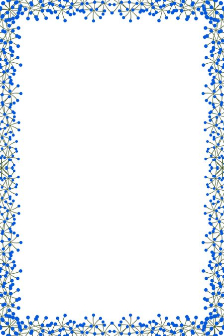 Simple background with border of flowerlike blue molecules and green bonds around white interior for designers to insert text, graphics, or both