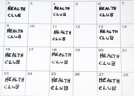 HEALTH CLUB written on alternate days on white monthly calendar