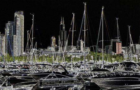 Night for nautical day: View of marina and skyline in Chicago, Illinois, USA, digitally altered for nocturnal effect