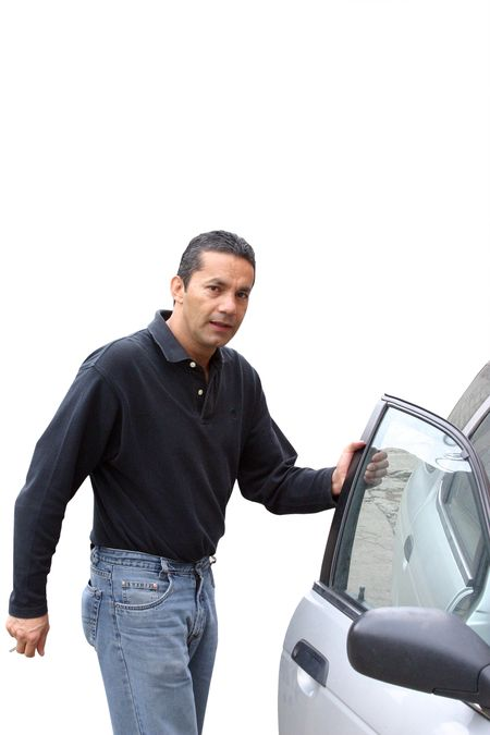 man opening a car door