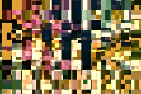 Kaleidoscopic variegated grid of squares that contain squares, rectangles, or both, for decoration and background with themes of complexity, variation, multiplicity
