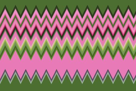 Varicolored abstract of zigzags, mostly pink and green, for illustration and background