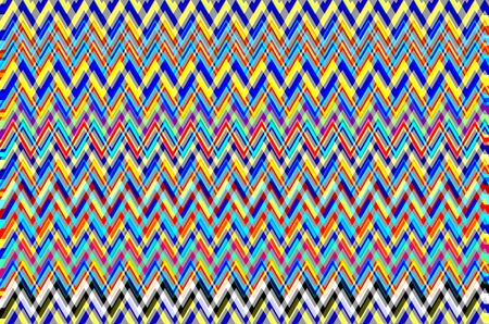 """Kaleidoscopic multicolored geometric abstract of overlapping zigzags with effect of """"seeing double"""" or """"seeing triple"""", with themes of perception, complexity, altered states of mind"""
