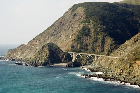 Two-lane bridge on Route 1, Big Sur Coast Highway, California