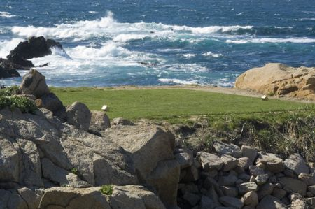 Teeing ground of golf course by ocean (study in immobility and motion)
