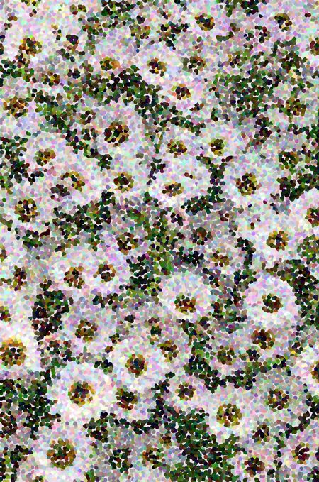 Pointillist varicolored abstract of garden flowers in summer for decoration and background