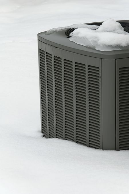Home air conditioner in snow