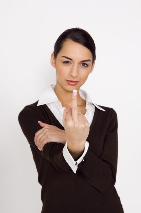 Businesswoman giving the finger.