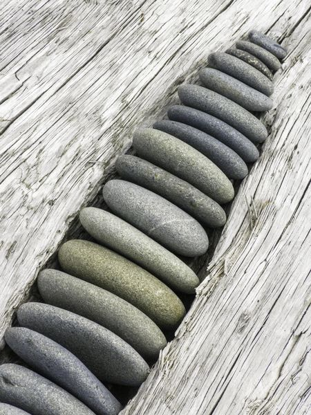 Arrangement by anonymous beachgoer: Small rocks, rounded by ocean waves, sorted by size and wedged into a gap in driftwood on a beach in the Olympic Peninsula of Washington State