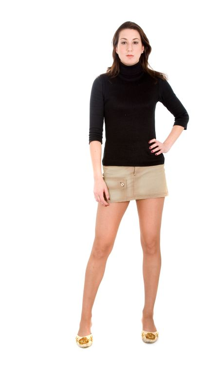 c886af314 beautiful woman with long legs wearing a mini skirt over a white background  | Freestock Photos
