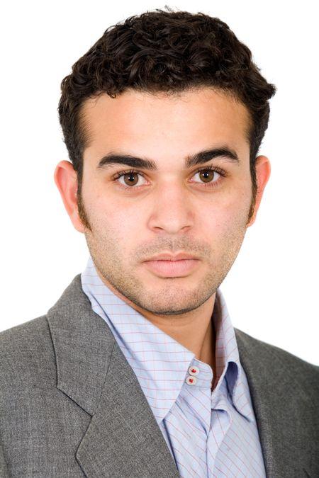 confident business man portrait over a white background