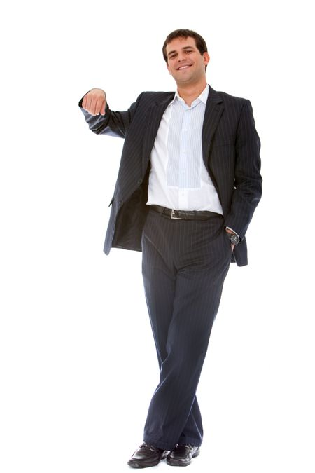 Business man with hand on something imaginary - isolated