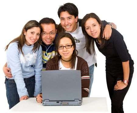 group of students on a laptop computer over a white background