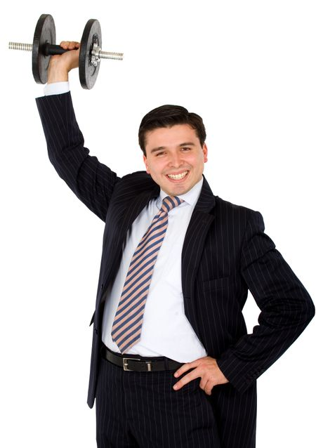 business man lifting weights easily with a big smile over a white background