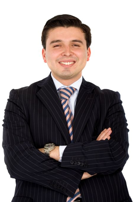 friendly business man smiling over a white background