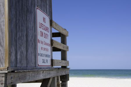 "Sign in English and Spanish: ""No lifeguard on duty"""