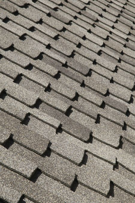 Asphalt shingles on sloped roof