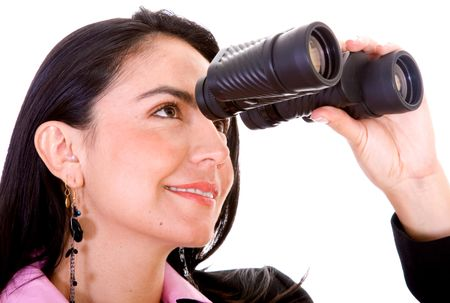 Business woman looking through her binoculars