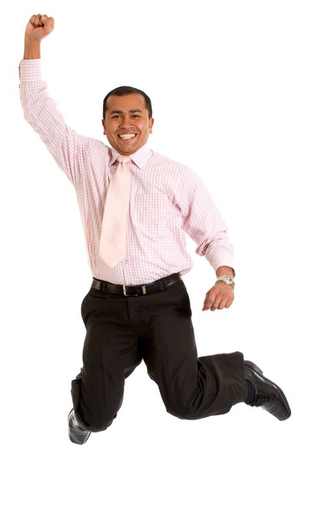 Business man jumping of success over a white background