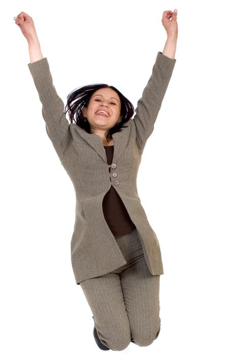 business woman jumping in the air over a white background