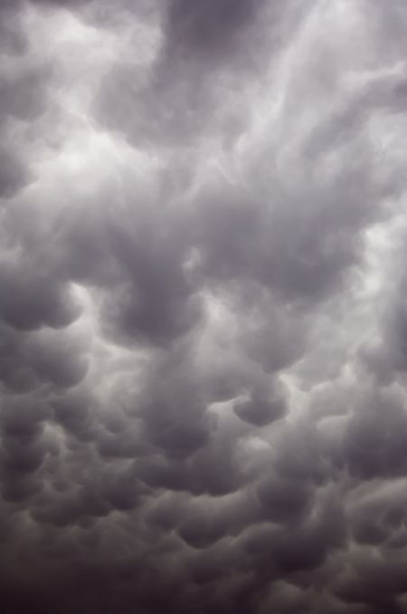 Mammatus clouds over northern Illinois on a warm evening in June
