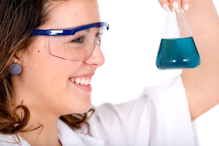 chemistry student smiling over a white background