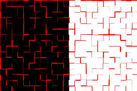 Split background, half black half white, with overlay pattern of red tiles, for themes of duality or commonality
