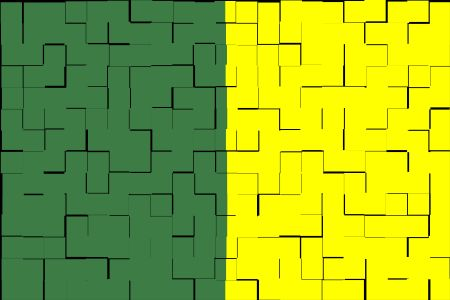 Split background, half green half yellow, with overlay pattern of black tiles, for themes of duality or commonality