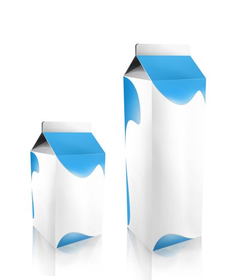 Couple of cartons for beverages isolated over white