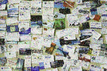 Pointillist varicolored abstract of many business cards pinned to a bulletin board, for use with themes of contact, information, community, service (one of a series)