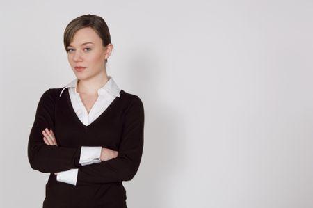 Businesswoman on white background.