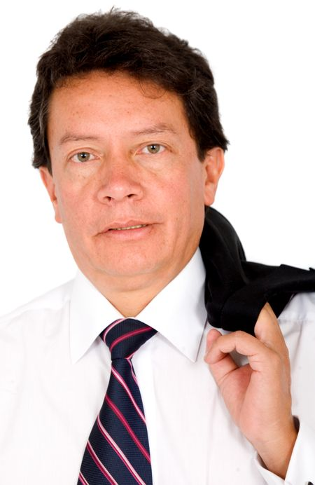 business man portrait with his jacket on his shoulder isolated over a white background