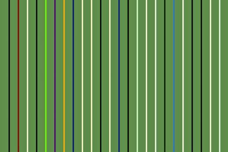 Decorative abstract of thin vertical bars with uniform spacing on background of dark moderate green, for themes of conformity, variation, alternation