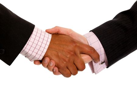 Diverse Business Men Shaking Hands Isolated Over A White
